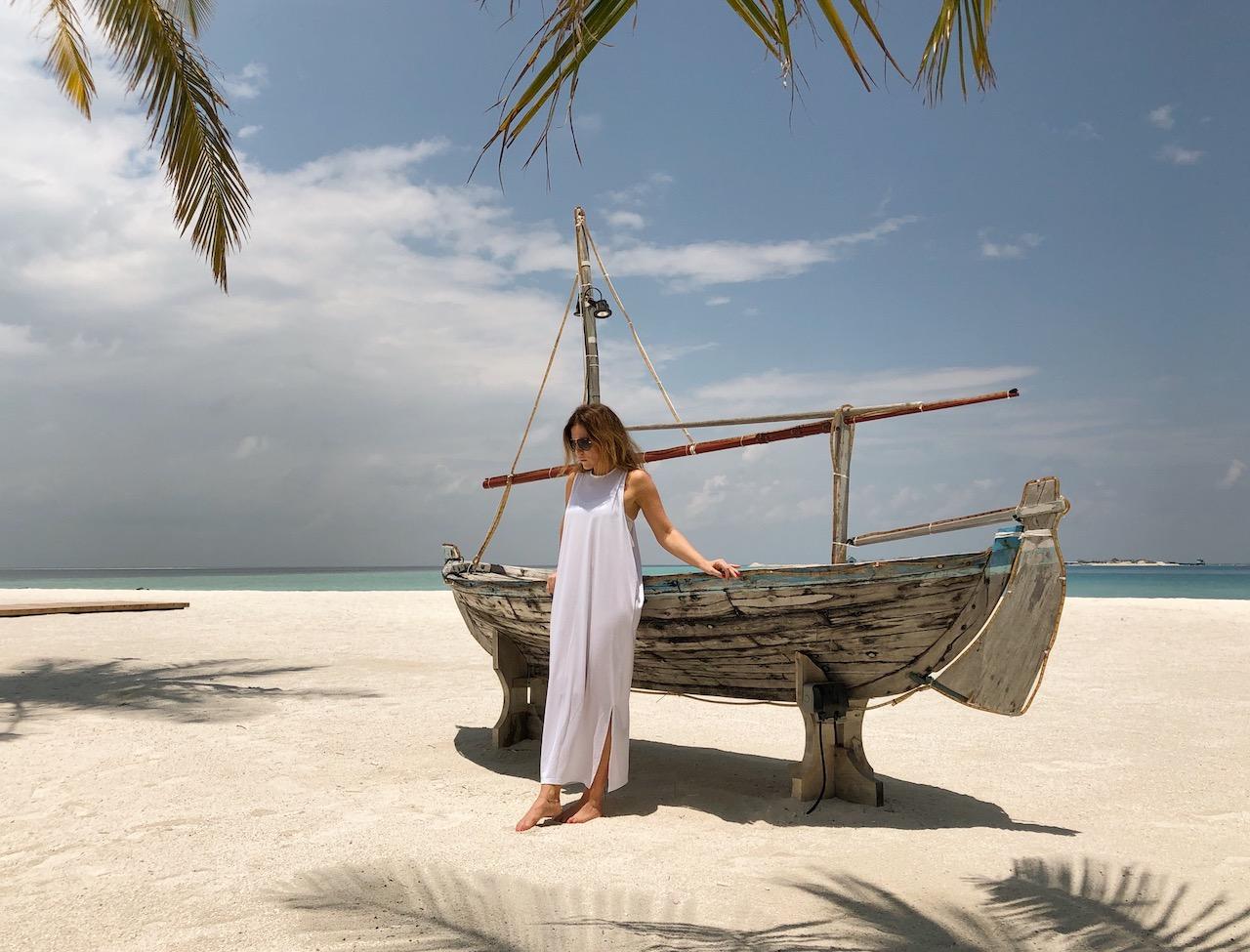 Sansibar Strand Boot Palmen Tansania